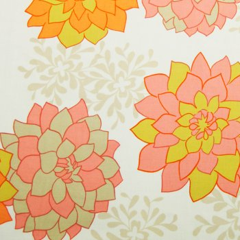 fabric Dahlias cream-red