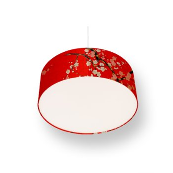 lampshade cherry blossoms red