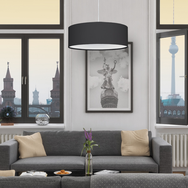 lampenschirm stoff stofflampenschirm schwarz. Black Bedroom Furniture Sets. Home Design Ideas