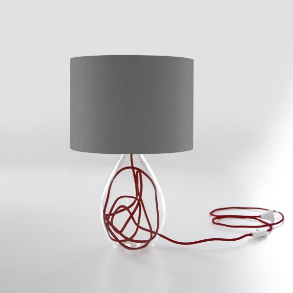 Lampada Da Tavolo Con Paralume E Base In Vetro