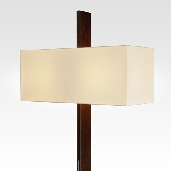 Oak floor lamp with lampshade