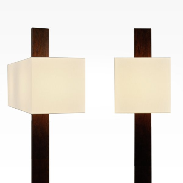 wood floor lamp with lampshade