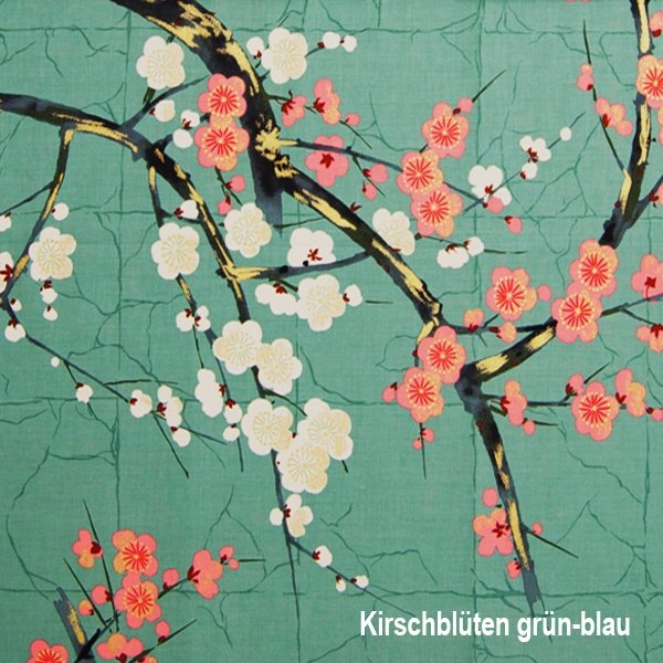cherry blossoms - green-blue