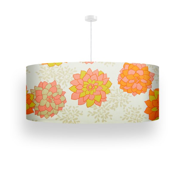 pendant lamp cDahlias cream-red