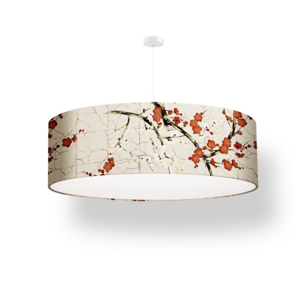 lamp shade cherry blossoms - cream red