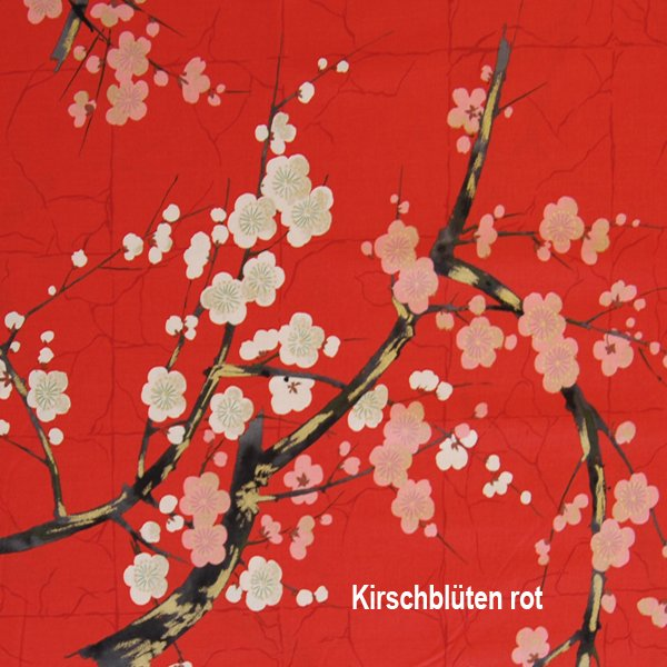 fabric cherry blossoms  red